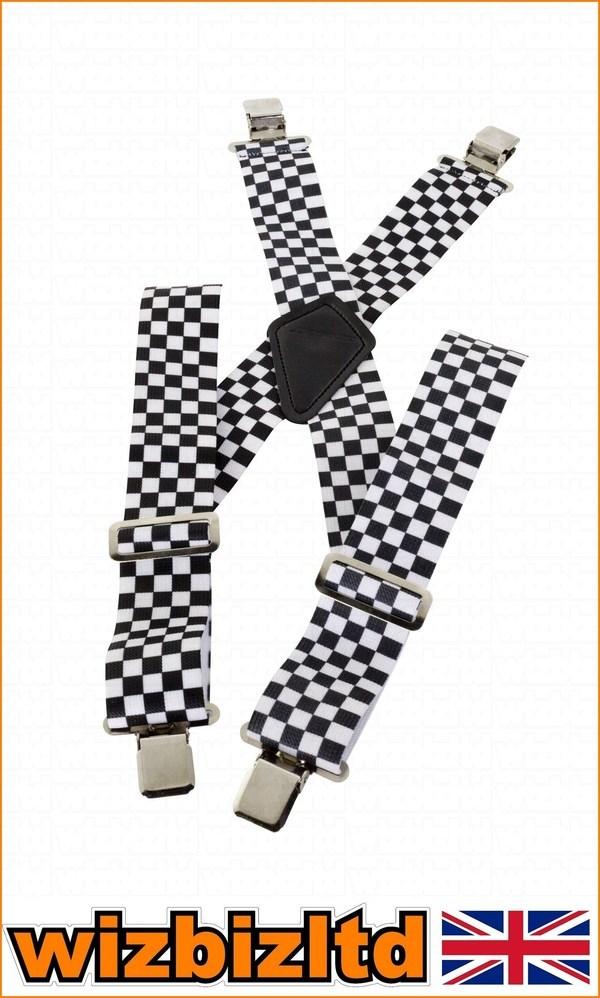 Police SKA Black//White Braces Men Ladies Fancy Dress Suspenders checker Draughts